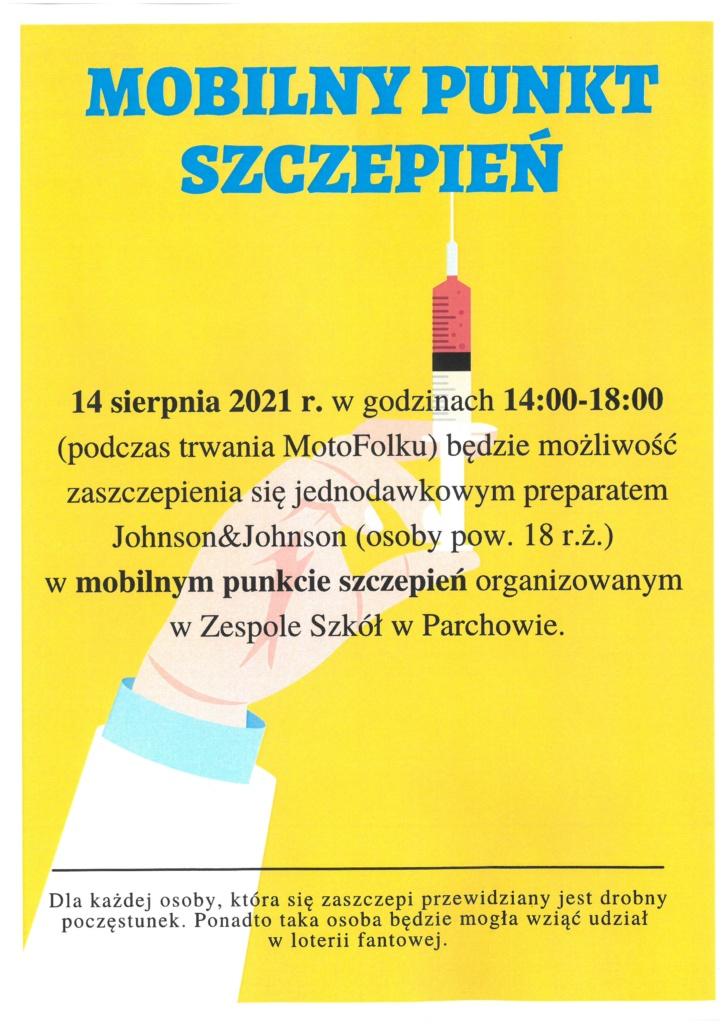 Plakat Mobilny Punkt Szczepień w Parchowie